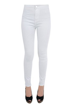 WOMENS LADIES HIGH WAISTED ONE BUTTON SUPER SKINNY STRETCH WHITE ...