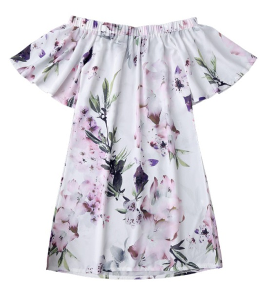 dress white with light pink and purple flowers h and green stems/leafs