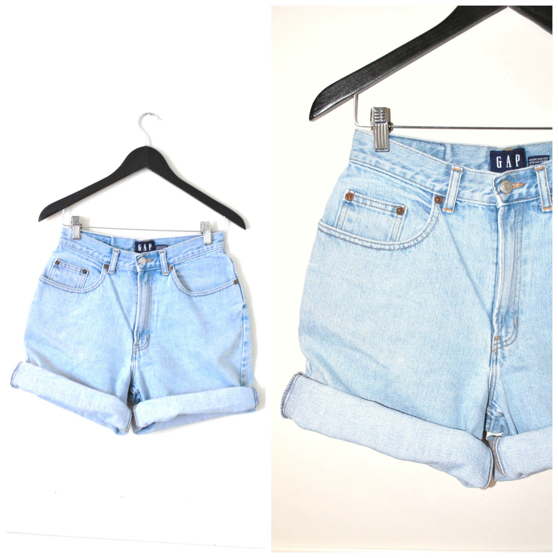 90s ROLLED UP denim shorts vintage 90s GRUNGE light wash pale ...