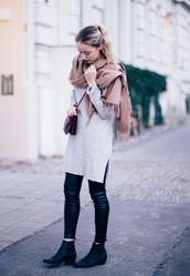 the limits of control,blogger,sweater dress,blanket scarf,leather leggings,leggings,grey oversized sweater