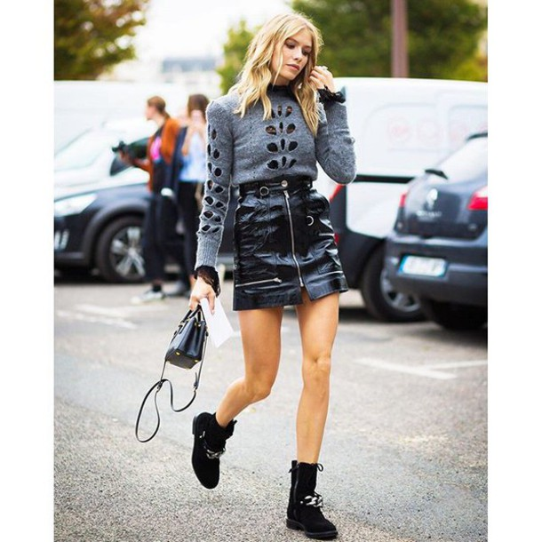 141d8728b9 skirt tumblr mini skirt black leather skirt leather skirt sweater grey  sweater bag black bag mini