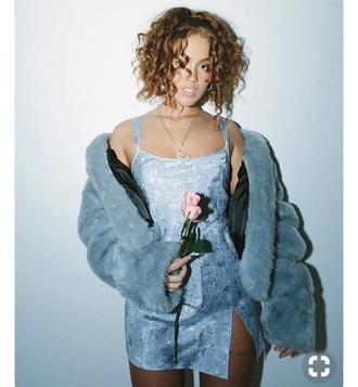 dress blue dope instagram tumblr grunge vintage fur coat