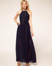 dress,prom dress,evening dress,chiffon,maxi dress,see through dress,halter neck,navy