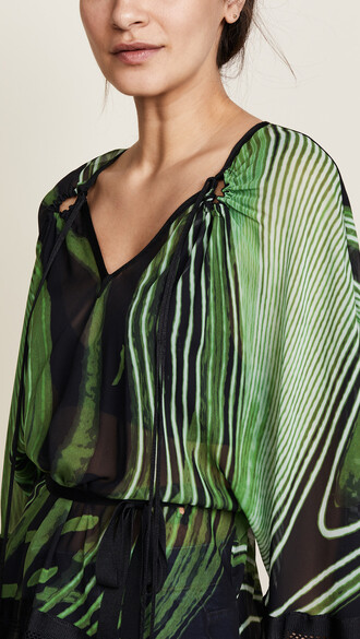 blouse black green top