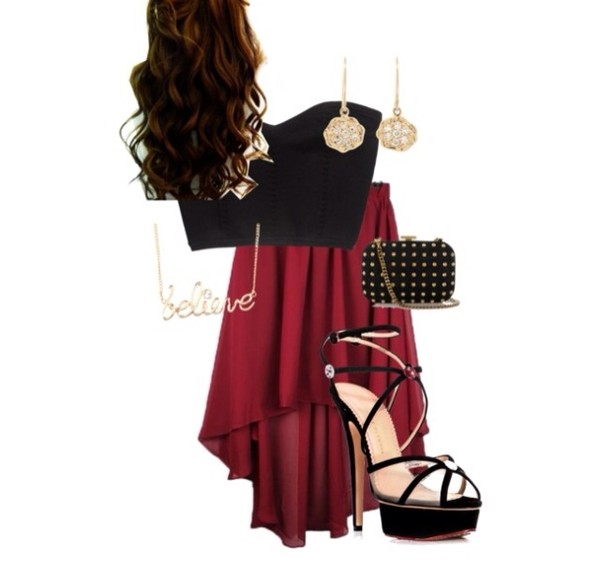 skirt black red high-low dresses shirt strapless winter formal dress