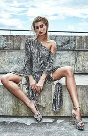dress,sequins,sequin dress,sandals,editorial,hailey baldwin,silver,metallic,asymmetrical