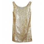 Street Fashion Round Neck Sequins Long Tank - Tanks - T-shirts & Tanks - Tops - Clothing
