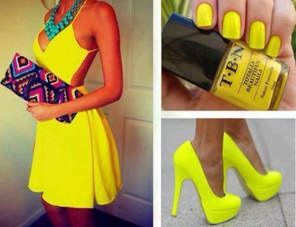 mini dress neon summer dress yellow dress denim dress short dress little dress skinny dress high heels jewels mini bag multicolored sexy dress neon yellow heels nail polish mini bags nail accessories shoes bag