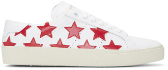 classic sneakers white stars red shoes