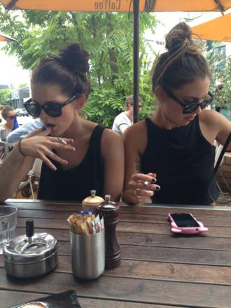 sunglasses tumblr crop tops blog fashion enerxated american apparel tropical black tank top top clothes jewels