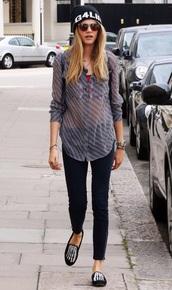 shirt,cara delevingne,plaid shirt,hat,model off-duty,blouse,blue,blue blouse,flannel