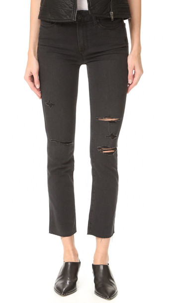 Paige Jacqueline Straight Leg Jeans With Raw Hem - Carbon Black Destructed