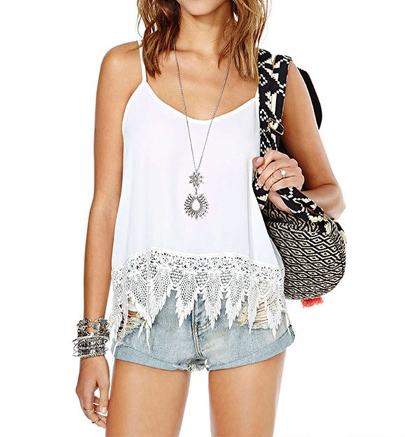 Cami Top With Crochet Trim And Strap Detail
