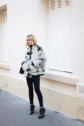 adenorah,blogger,ankle boots,faux fur jacket,winter jacket,jeans,jacket,shoes,bag