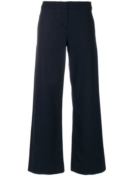 cropped women blue wool pants