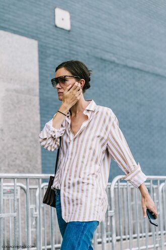 shirt fashion week street style fashion week 2016 fashion week ny fashion week 2016 stripes striped shirt denim jeans blue jeans bag sunglasses tumblr streetstyle