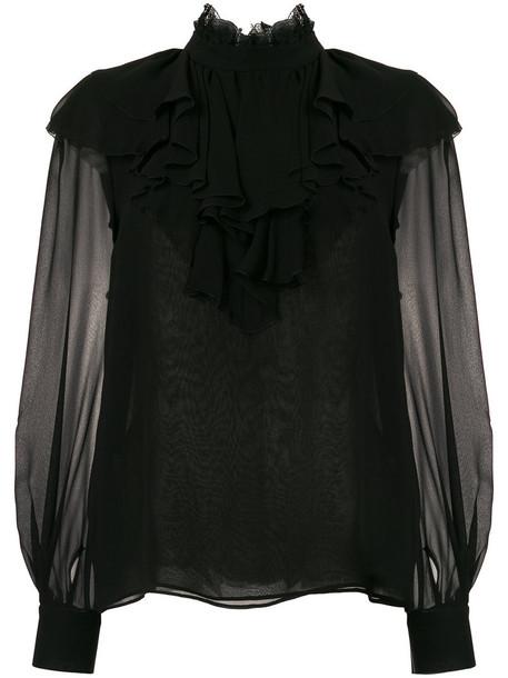 GIAMBATTISTA VALLI blouse sheer women black silk top