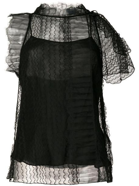 3.1 Phillip Lim - lace embroidered blouse - women - Silk/Nylon/Viscose - 2, Black, Silk/Nylon/Viscose