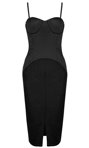 Bustier Satin Suede Midi Dress Black