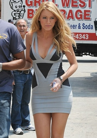 bodycon dress grey black blonde hair bandage dress celebrity short dress
