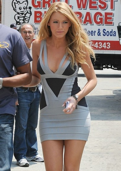 bandage dress bodycon dress grey black blonde hair celebrity short dress tight dress