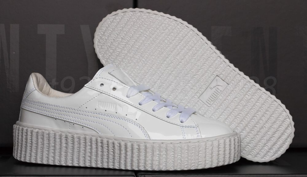 official photos 5a4c4 c5c7c NEW PUMA FENTY RIHANNA CREEPERS GLO WHITE LEATHER WOMEN'S SHOES ALL SIZES