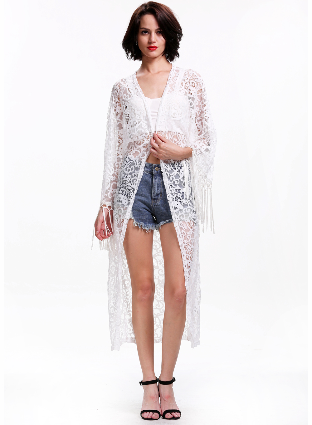 White Long Sleeve Sheer Lace Kimono - Sheinside.com