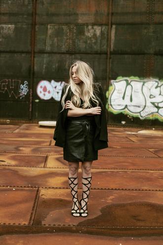 5 inch and up jacket top blogger gladiators leather skirt coat black