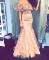 dress,pastel pink,prom dress,off the shoulder