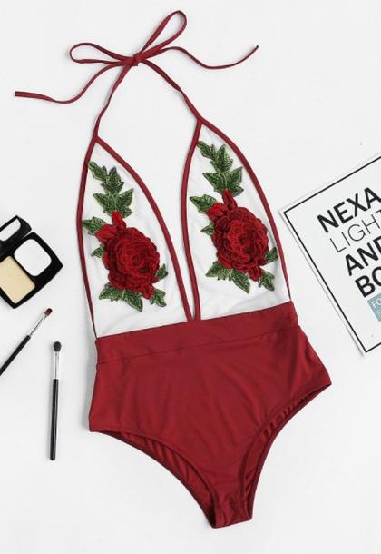 swimwear girly red one piece swimsuit one piece bodysuit mesh floral