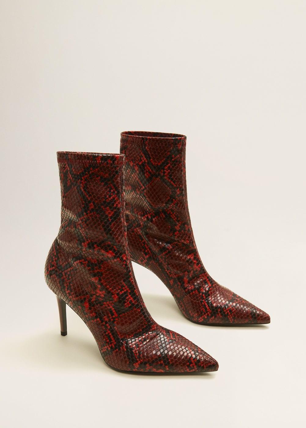 Snake-effect ankle boots - Women | Mango USA