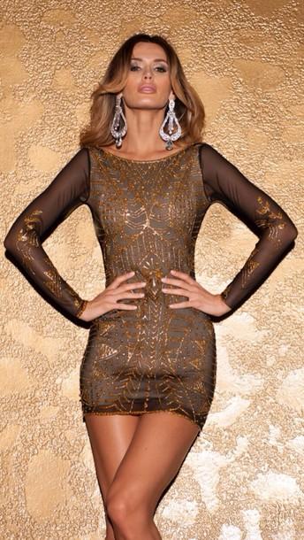 dress gold sequins dress jewels
