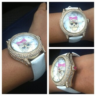 jewels pretty cute betsey johnson arm candy watch bling skull white white watch diamonds pink