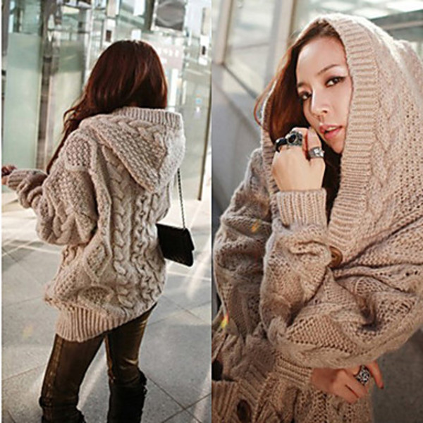 Women Hooded Cardigan Cable Knit Chunky Jumper Long Sleeve Braid ...