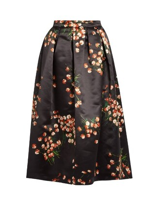 skirt daisy print satin black