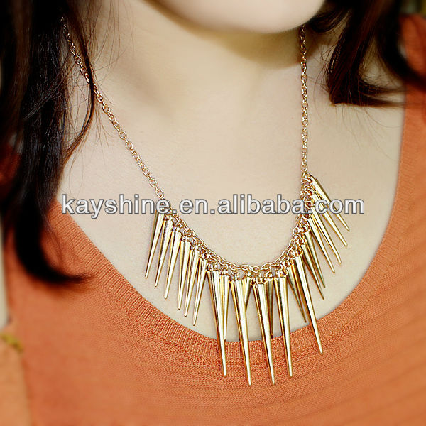 Wholesale Punk Style Exaggerate Gold Color Exquisite Spike Collar Necklace-in Chain Necklaces from Jewelry on Aliexpress.com