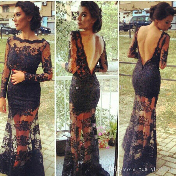 Wholesale Celebrity Dresses - Buy 2014 Black Lace Backless Evening Gowns With Sheer Long Sleeves Inspired by Kim Kardashian Dresses Vestidos, $110.58 | DHgate