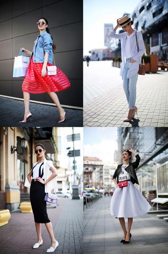 tina sizonova blogger jacket t-shirt skirt shoes bag jeans
