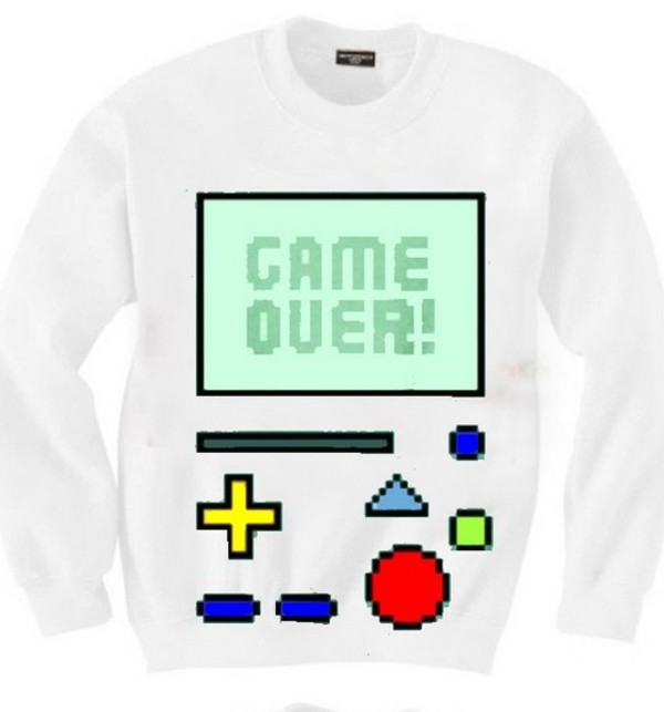 sweater game over game over crewneck pullover white green bmo adventure time yellow red blue :-)