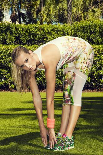 leggings active bottom green hollie watman mesh print white bikiniluxe