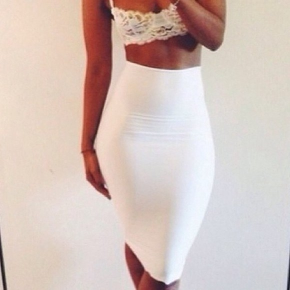 top white shirt white outfit outfit outfit ideas white midi skirt white pencil skirt pencil skirt high waist pencil skirt lace top crop crop tops crop tops lace crop top lace cropped top bralette lace top bralette lace crop top
