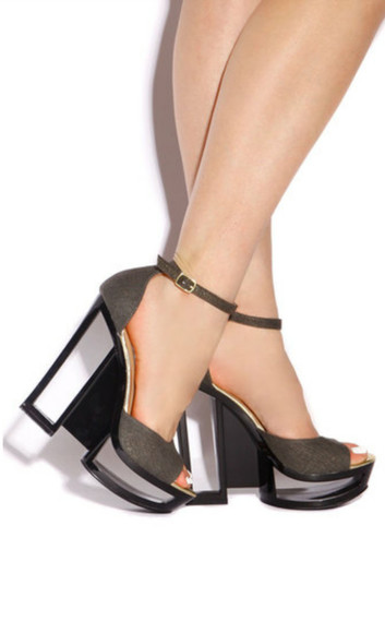 black cut-out shoes high heels grey unique