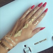 nail accessories,kinda like henna but not,tattoo,hand,red nails,mani,temporary tattoo