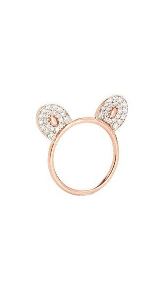 rose gold rose monkey ring gold white jewels