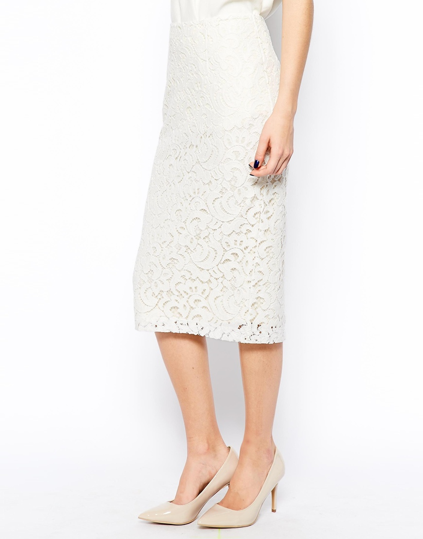 New Look Pretty Lace Pencil Skirt at asos.com