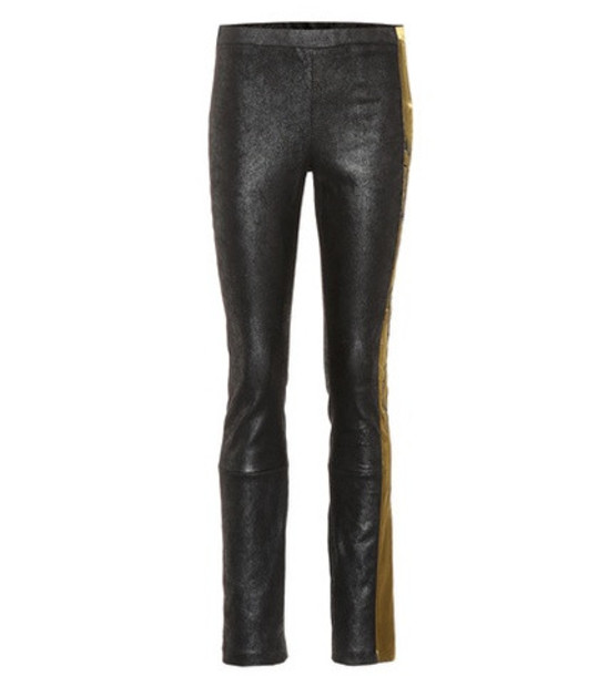 Haider Ackermann Embroidered leather leggings in black