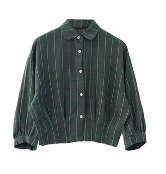 top green top green shirt long sleeves gingham green gingham www.ustrendy.com