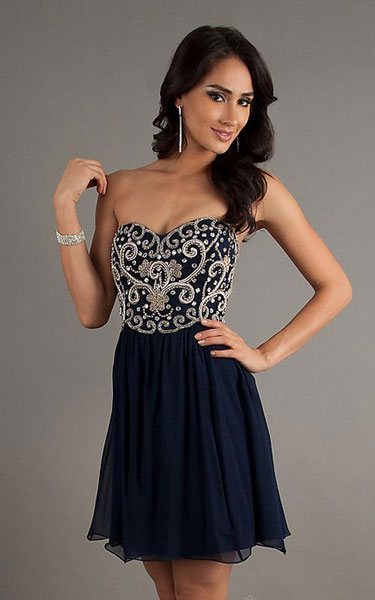 Embellished Bodice Short Navy Party Dress SN 50539 [Embellished Bodice Short Dress SN 50539] - $132.00 : Discover Unique Dresses Online at PromUnique.com