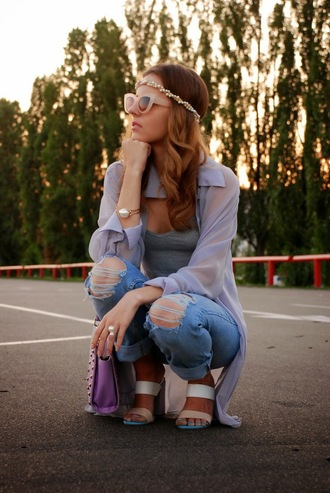 shoes pearl headband matte sunglasses beige sunglasses cat eye pearl bracelet double strap mules grey cami sheer cardigan ripped jeans blue jeans blue ripped jeans shoulder bag pearl ring mules