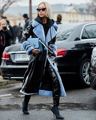 coat shearling jacket black coat leather coat pants vinyl sunglasses cat eye boots black boots streetstyle